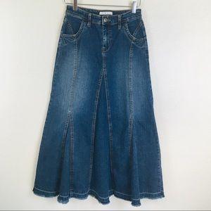 CAbi Flare Denim Maxi Skirt Style #392 Size 4